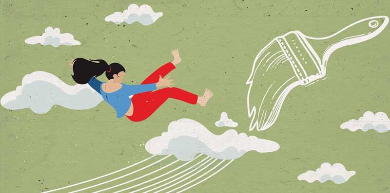 Dania persa tra le nuvole salvata dal disegno...  - Illustrazione di Dania Puggioni