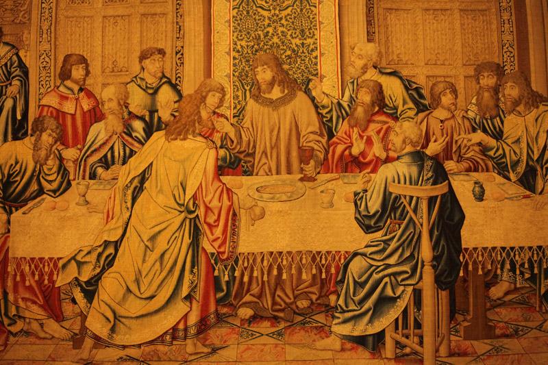 Particolare dell'arazzo fiammingo datato 1516