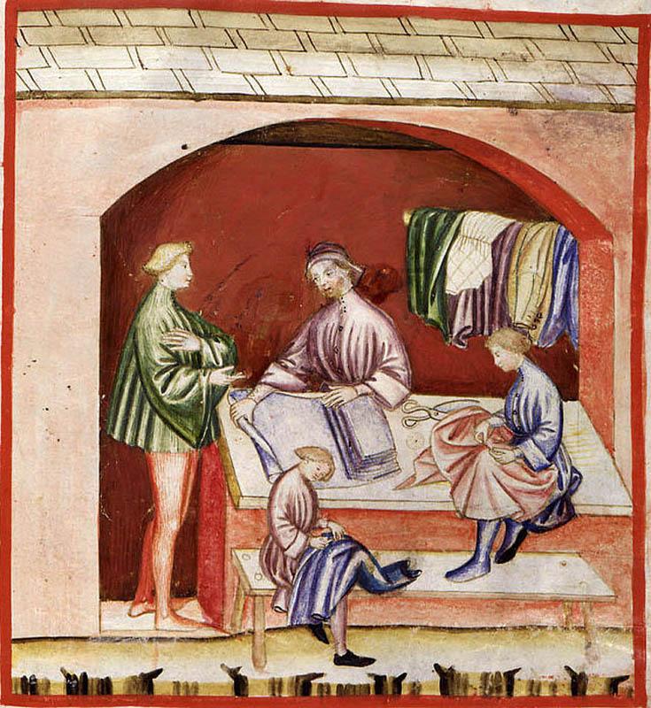 Una bottega di tessuti dal Tacuinum Sanitatis