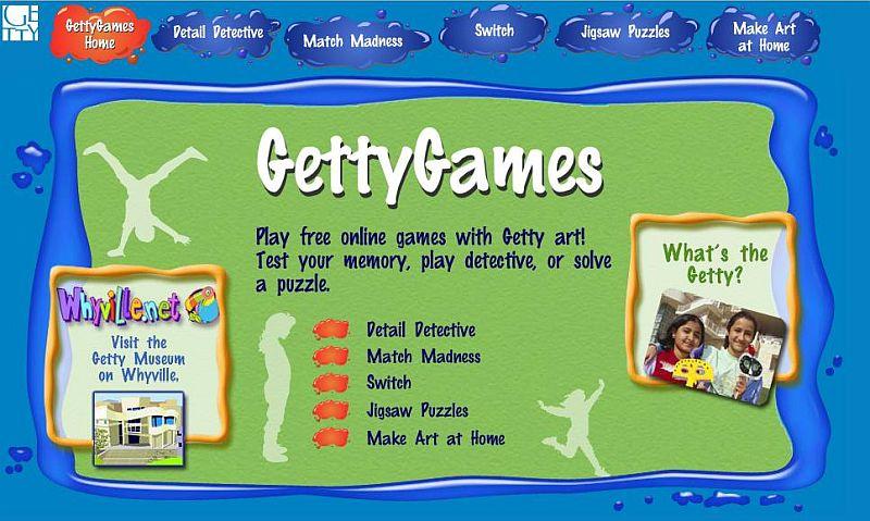 La pagina dei giochi del sito web del Getty Museum