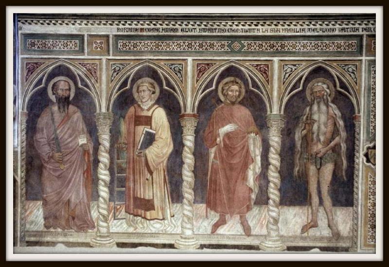 Un particolare degli affreschi dell'Oratorio di San Giovanni