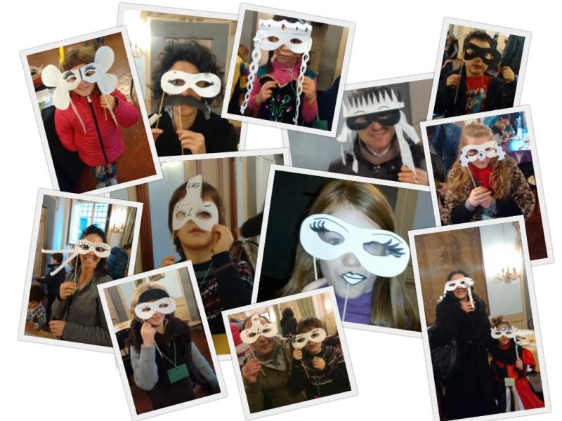Alcune delle maschere realizzate da genitori e bambini