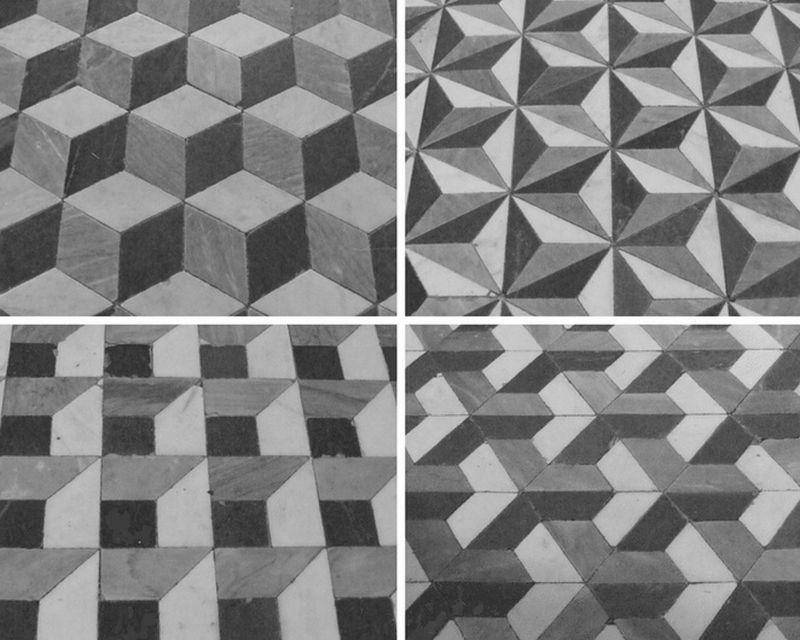 Alcuni dei pavimenti intarsiati della Certosa di Calci
